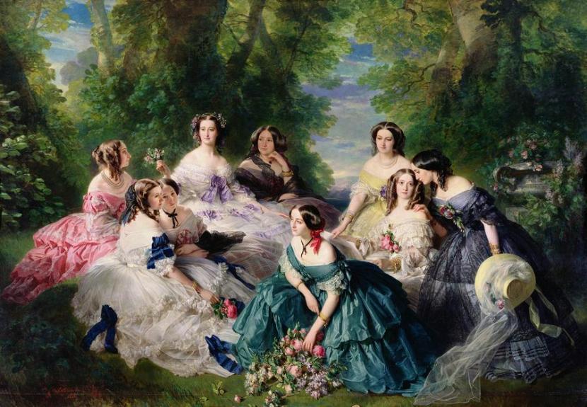 A imperatriz francesa Eugéne que era uma das mais fieis clientes de Worth retratada em um de seus vestidos, o de laços azuis.